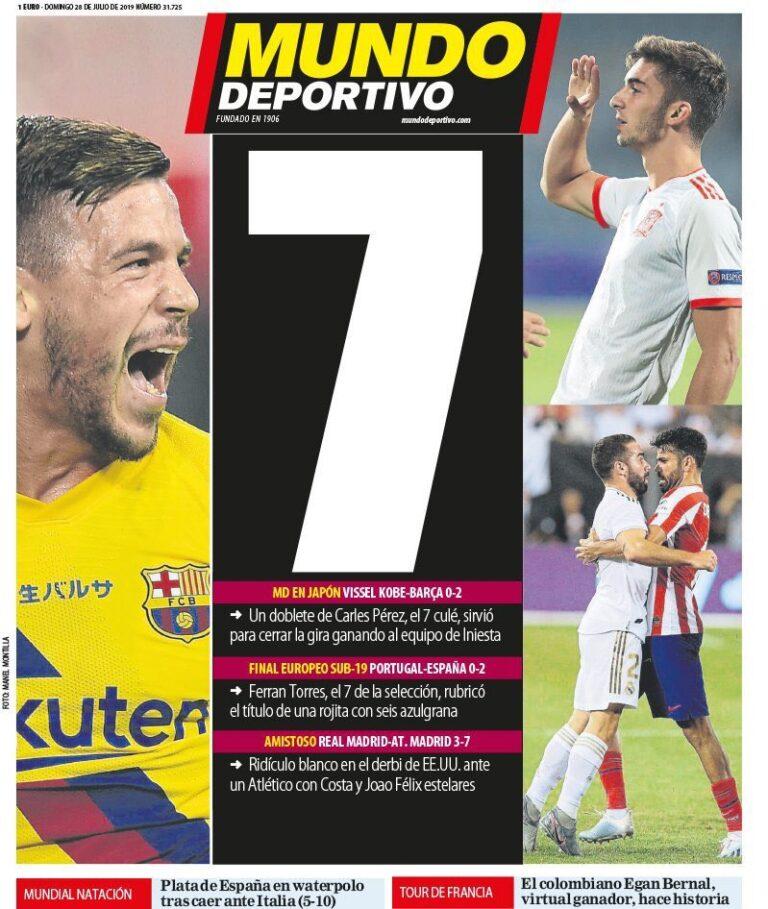 سباعية أتلتيكو مدريد وصحف اسبانيا..