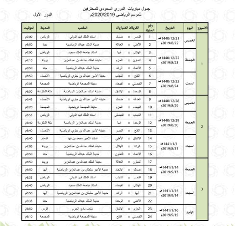 قرعة الدوري السعودي 2019 و جدول الدوري السعودي للمحترفين