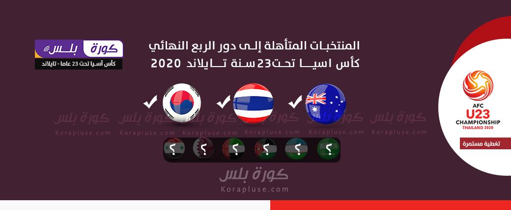 المنتخبات المتأهلة الى ربع النهائي كأس اسيا تحت 23 سنة - تايلاند - المنتخبات المتأهلة الى دور 8