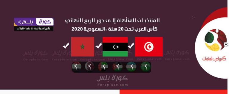 المنتخبات المتأهلة الى ربع نهائي كأس العرب تحت 20 سنة – السعودية – المنتخبات المتأهلة الى دور 8