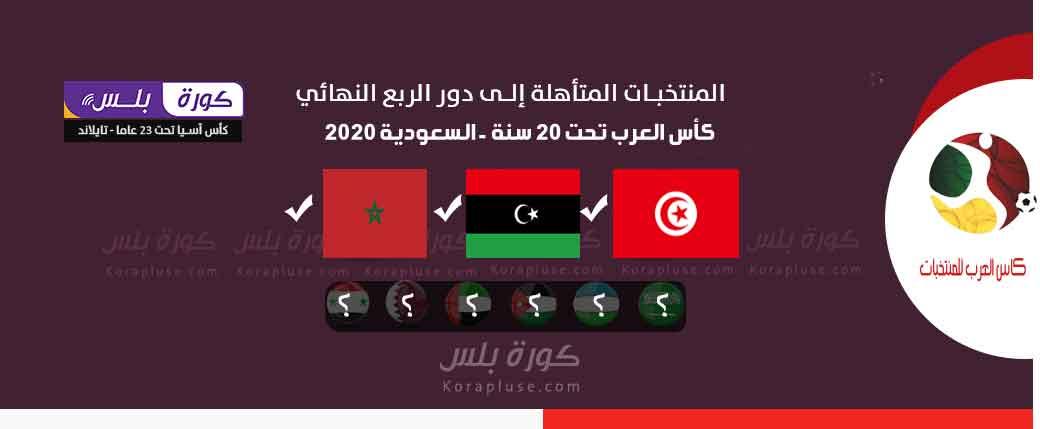 المنتخبات المتأهلة الى ربع نهائي كأس العرب تحت 20 سنة - السعودية - المنتخبات المتأهلة الى دور 8