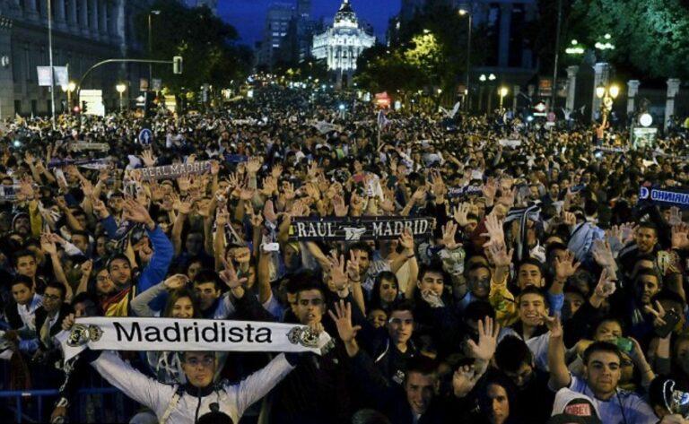 شاهد بالفيديو احتفالات مشجعي ريال مدريد بتتويجه بطل الدوري الاسباني