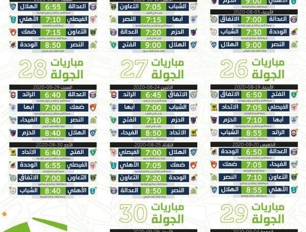 جدول مباريات الدوري السعودي المتبقية دوري كأس الأمير محمد بن سلمان 2020