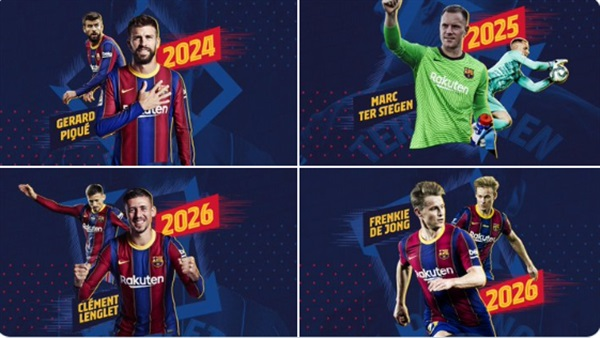 قبل مباراة الكلاسيكو نادي برشلونة يجدد عقود اهم لاعبيه