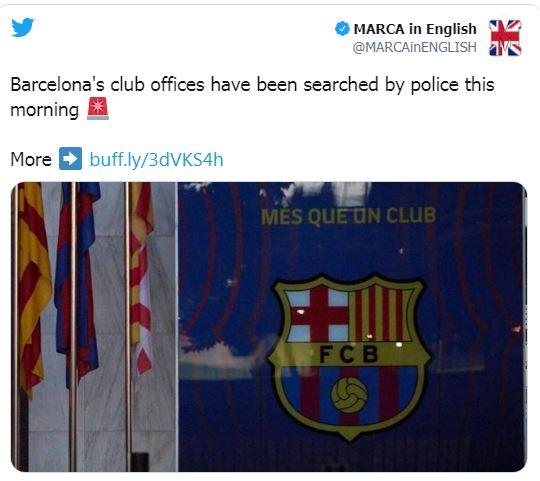 الشرطة تداهم مكاتب نادي برشلونة