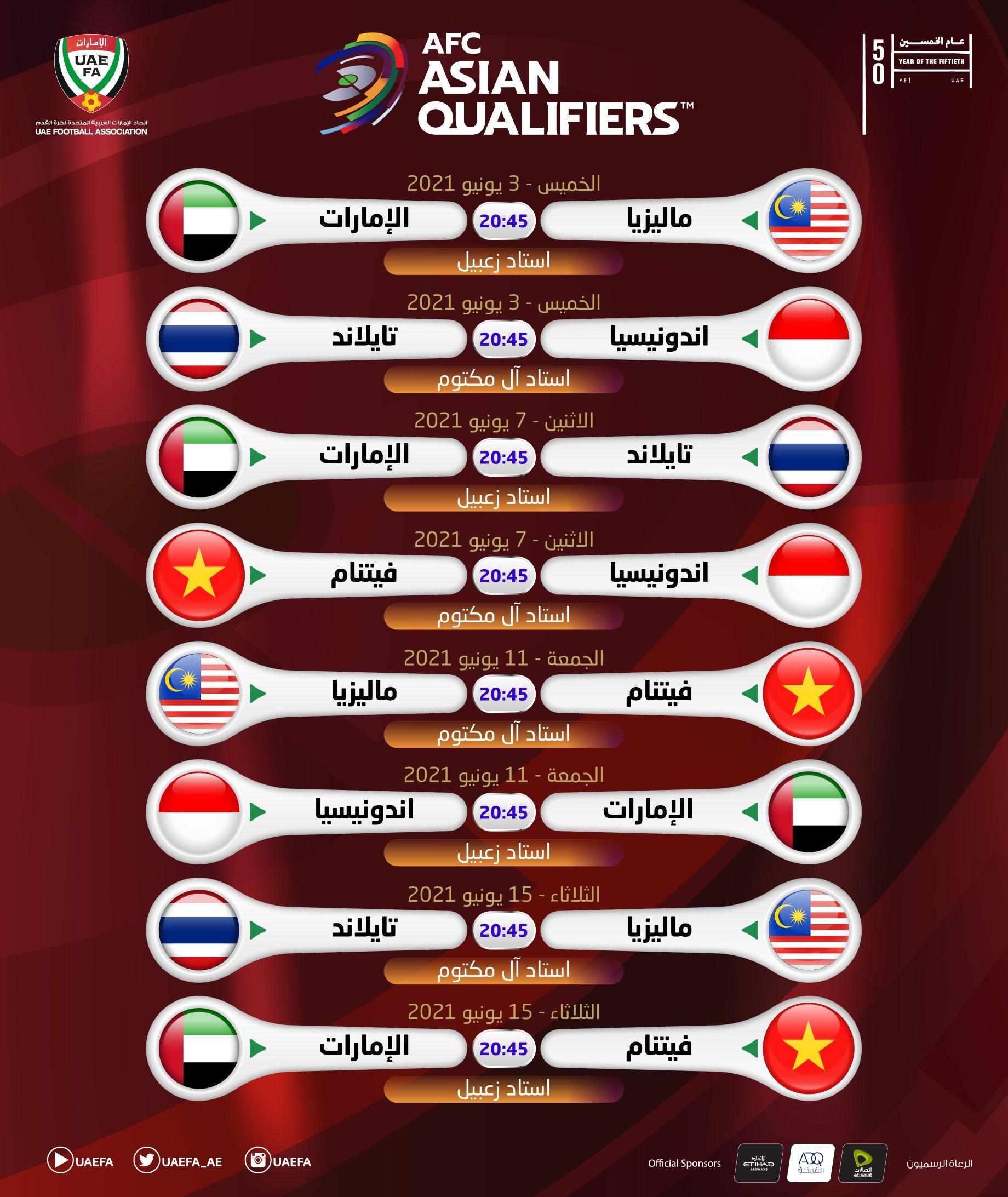 جدول مباريات منتخب الامارات في تصفيات كاس العالم 2022