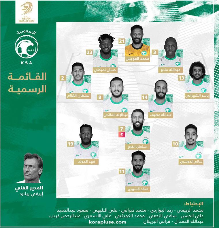 تشكيلة متنخب السعودية الرسمية في مباراة اليوم ضد اليمن