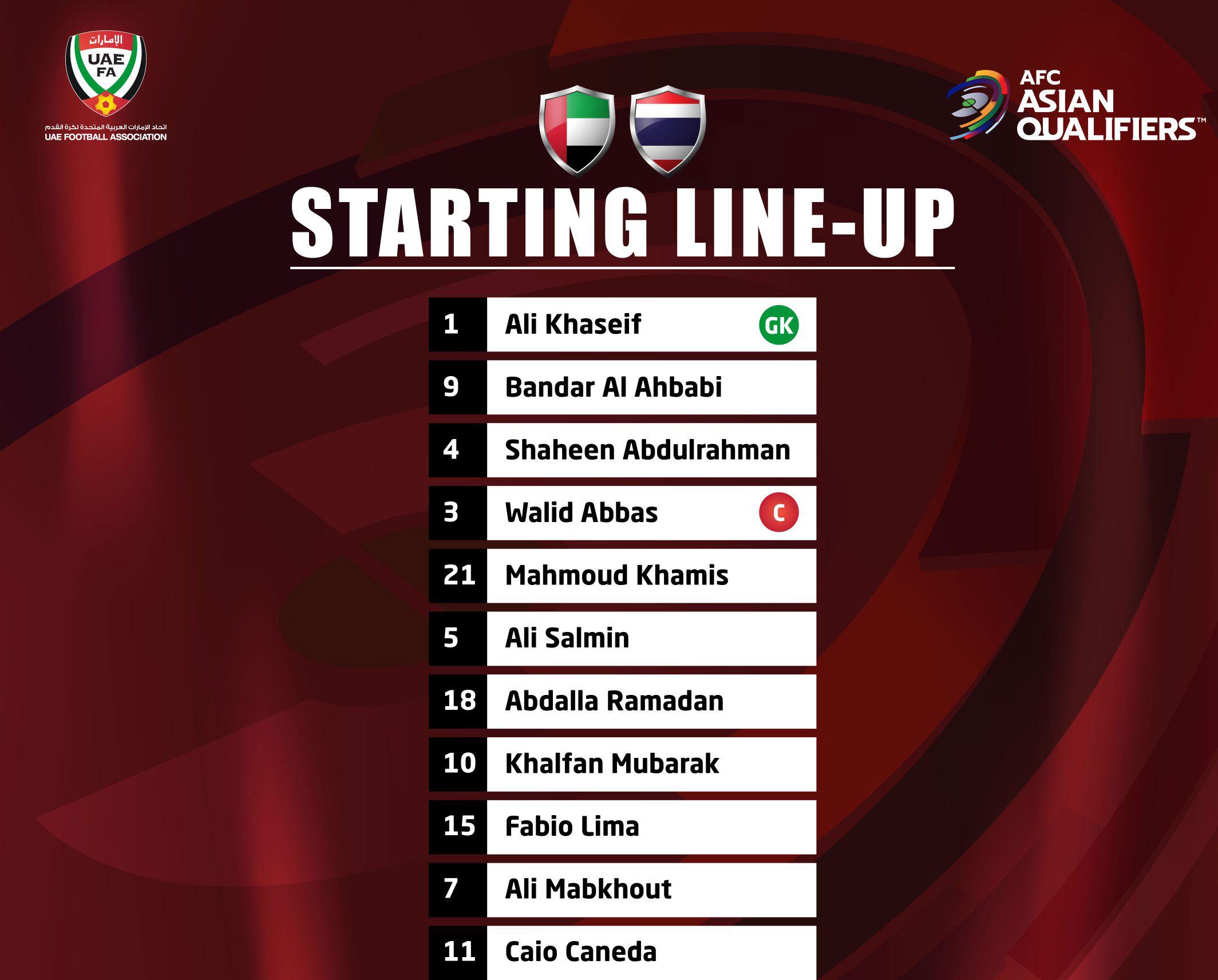 تشكيلة منتخب الإمارات الرسمية في مباراة اليوم