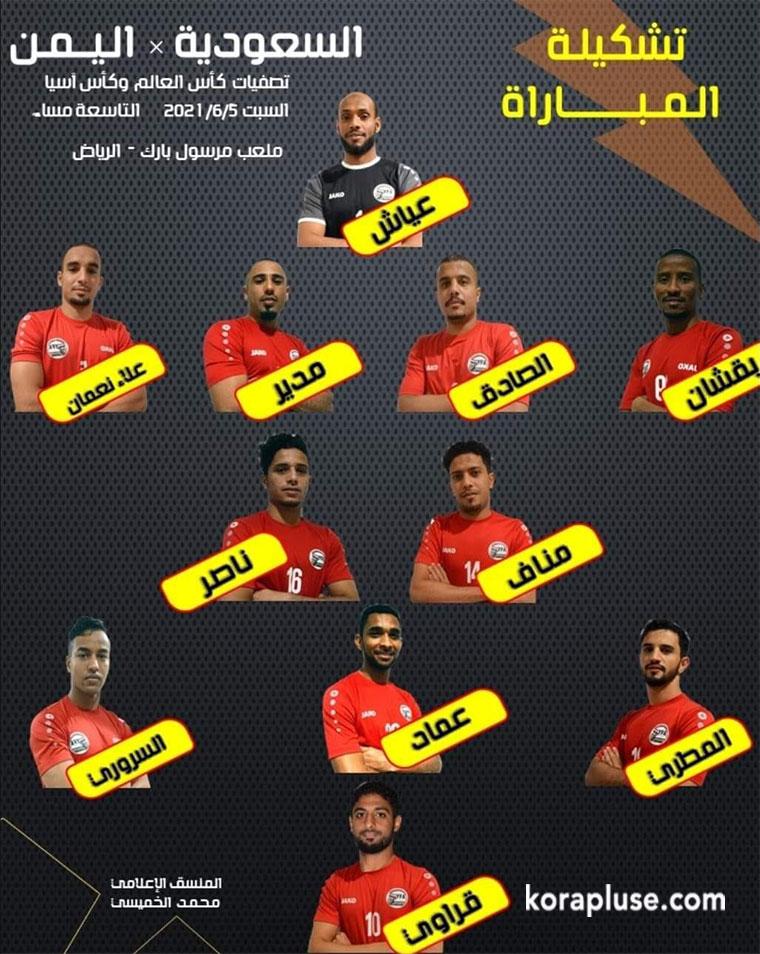 تشكيلة متنخب اليمن الرسمية في مباراة اليوم