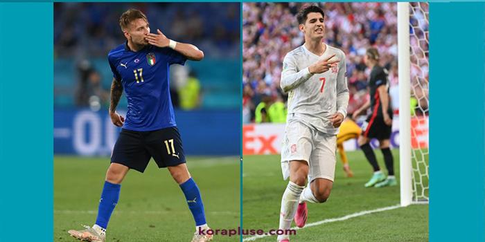 تشكيلة منتخب ايطاليا و اسبانيا الرسمية في مباراة نصف نهائي امم اوروبا 2021 اليوم