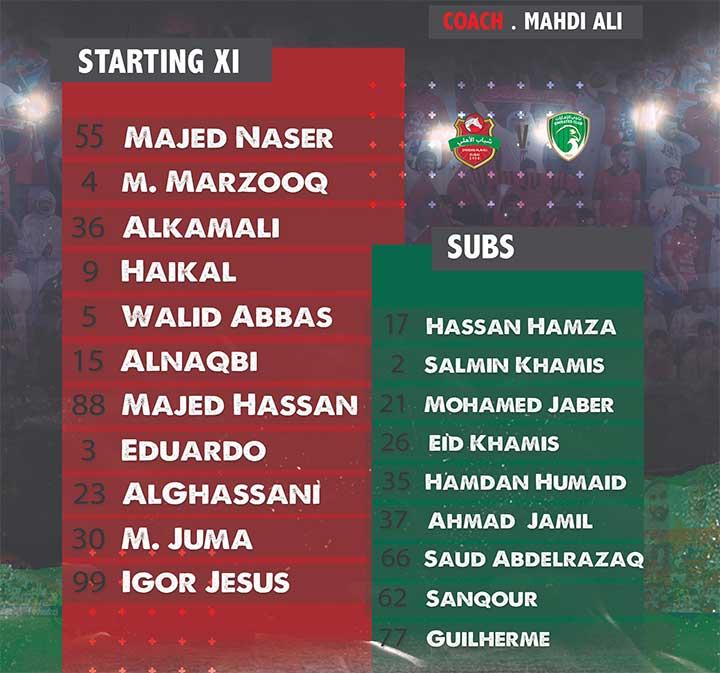 تشكيلة نادي شباب الاهلي الرسمية في مباراة اليوم ضد الامارات