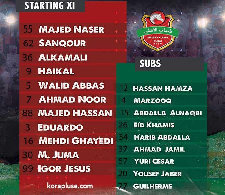 تشكيلة شباب الاهلي دبي الرسمية في مباراة اليوم ضد العروبة